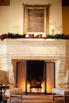 Fireplace and mantel-Sitting by the fire with a mug of cocoa makes it feel like Christmas, whether you're in sunny California or snowy Colorado! #terraneatraditions