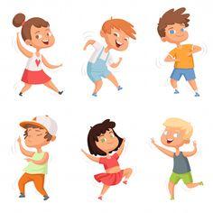 Happy childhood various funny dancing kids vector image on VectorStock Cartoon Kids, Cute Cartoon, Funny Kids, Cute Kids, 2d Character Animation, Dancing Drawings, Kids Vector, Kids Around The World, Children's Book Illustration