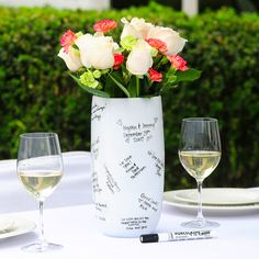 A Signature Vase allows guests to sign their name and well-wishes...something you will have forever!