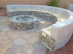 Fire pit and Bench seating using natural stone | Yelp