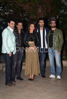 Arjun Kapoor, Sonakshi Sinha and the whole team of Tevar looked in super spirits as they promoted their movie in Delhi . Seen here are Manoj Bajpai, Sanjay Kapoor and Amit Sharma talking about their much awaited movie.