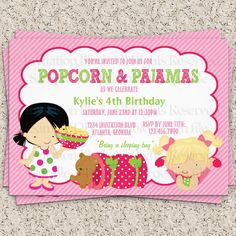 Popcorn and Pajamas Girl's Sleepover Birthday DIY Party Invitation