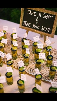 Tequila shot seating arrangements
