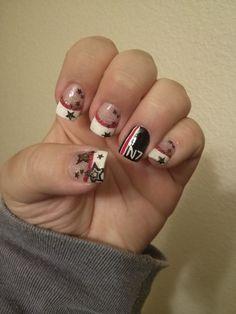 Mass Effect inspired nail art. Red, black, white, stars, N7.