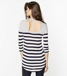 Show off your sexy back with this cute striped tee!