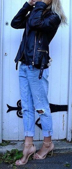 Boyfriend jeans + leather jackets #zalando #kissmylook