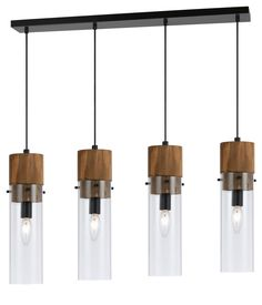 Island Light Wood Bronze Glass Pendant Light | Lamp Shade Pro