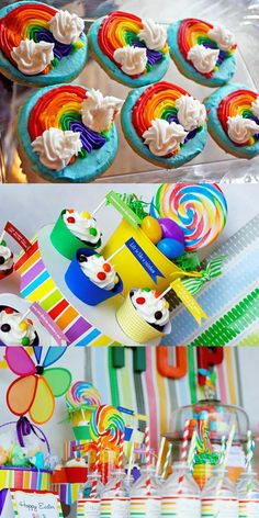 Une sweet table aux couleurs de l'arc en ciel