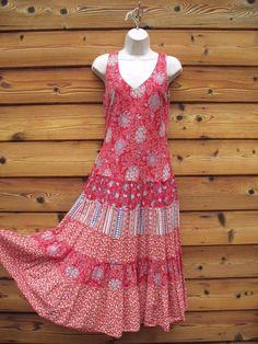 Coldwater Creek Boho Print Dress Size 8 Red 100% Cotton #ColdwaterCreek #Sundress
