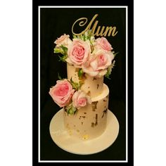Birthday Cake #flowers #roses #goldleaf #cake #surprise