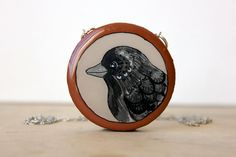 halloween crow necklace orange black brown autumn bird by iamabird, $40.00
