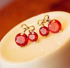 Bow Cherry zircon earring AEBGBG