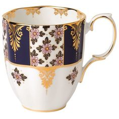 Royal Albert 100 Years Regency Blue Mug ($25) ❤ liked on Polyvore featuring home, kitchen & dining, drinkware, blue drinkware, floral mugs, gold mug, tea mugs and royal albert