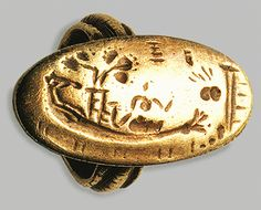A ring with a ship aground Excavation from Mohlos - Sitia Museum of Heraklion 1500-1450 BC