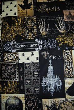 Edgar Allen Poe Nevermore Spooky Potion Dark Crow Halloween Cotton Quilting Fabric CR139