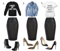 Small 🆕🎀 Black Faux Leather High Waist Skirt Reasonable offers will be accepted! Fabric: Polyester/Spandex- off when bundled Skirts Source by polarivera skirt Mode Outfits, Fall Outfits, Casual Outfits, Fashion Outfits, Sexy Outfits, Fashion Clothes, Fashion Mode, Look Fashion, Womens Fashion