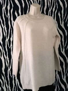 This is a WARM and comfortable Inhabit tunic / sweater that can be worn in a number of ways. Luxury brand (Inhabit) and fantastic quality. Vintage Designer Clothing, Off White Color, Tunic Sweater, Luxury Branding, Merino Wool, Vintage Outfits, Pullover, Sleeves, Sweaters