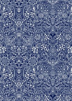 Detailed Floral Pattern in White on Navy, this is so pretty and detailed. it would make my shirt look very classy