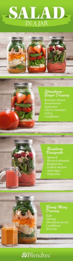 Salad in a Jar Recipes with Homemade Dressing ~ Bloody Mary Dressing, Strawberry-Ginger Dressing, and Raspberry Vinaigrette.