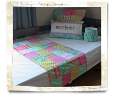 """""""Kitty Couture"""" - colourful patchwork style duvet cover & accessories made by Tula-tu Baby Linen"""