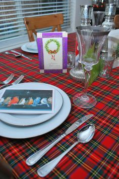 Christmas red plaid tablecloth, red check tartan table runner ...