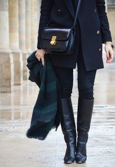 Pull Gap – manteau Mango – jean Gap – bottes Chloé – sac Céline – chapeau Catarzi – écharpe Asos – manchette trouvée sur Etsy