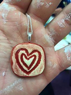 ceramic heart pendant necklace charm Heart Pendant Necklace, Necklace Charm, Pottery Place, Ceramics, Drop Earrings, Jewelry, Ceramica, Pottery, Jewlery