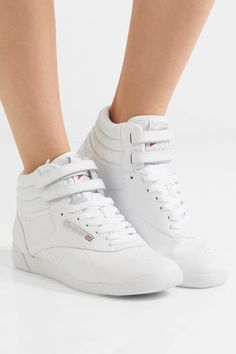 Rubber sole measures approximately 25mm/ 1 inch White leather Velcro®-fastening straps, lace-up front