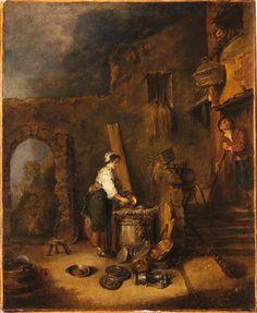 L'Ecureuse de cuivres. Antoine Watteau