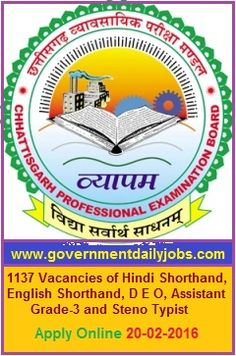 CGVYAPAM RECRUITMENT 2016 APPLY ONLINE FOR 1137 D E O & OTHER POSTS ~ Government Daily Jobs