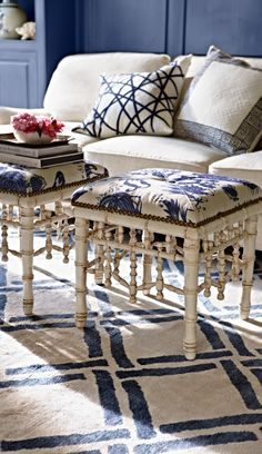 Versatile chinoiserie for a living room, bedroom or study, the Sea Island Faux Bamboo Ottoman adds a tropical touch to your decor. Bamboo Furniture, Furniture Upholstery, Antique Furniture, Outdoor Furniture, Chinoiserie Chic, Chinoiserie Fabric, Blue And White China, Faux Bamboo, White Rooms
