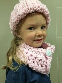 Crocheted Hat & Scarf are Handmade in USA. They are made with a chunky soft yarn that is very comfy to wear. The scarf is made with three