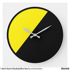 Shop I don't know black/yellow bee large clock created by univercitizen. Black Clocks, Large Clock, Hand Coloring, Black N Yellow, Bee, Shop My, Pure Products, Artwork, Prints