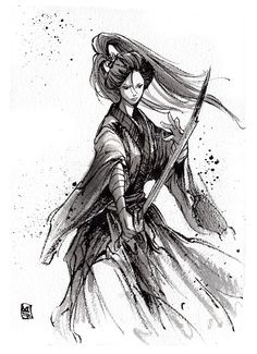 Ink sketch Lady Katana by MyCKs on DeviantArt – Sumie – Paleo Female Samurai Tattoo, Samurai Drawing, Samurai Artwork, Japanese Drawings, Japanese Art, Samourai Tattoo, Katana Girl, Character Art, Character Design