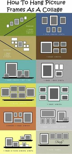 how to hang picture frames as collage like the yellow square but add a rectangle photo in the center