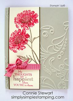 Pretty card layout - embossed background, watercolor panel, ribbon, sentiment below - Connie Stewart