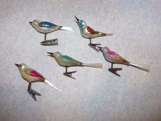 5 Antique Christmas Ornaments Clip On Birds Spun Glass Tails Fish Mercury Blown