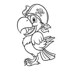 afbeeldingsresultaat voor kleurplaat papegaai pirate parrotpirate