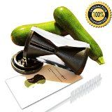 #1 Spiral Slicer - Ultra Sharp Improved Design - Perfect Zucchini Spaghetti Maker - Spiralizer for Vegetable Noodle Pasta- Hand Held Veggie Twister Julienne Cutter for Carrots, Potatoes, Cucumbers, etc. - 2 Sizes of Sharp Stainless Steel Japanese