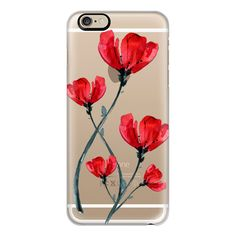 Red Poppy. Summer flowers I - iPhone 6s Case,iPhone 6 Case,iPhone 6s... ($40) ❤ liked on Polyvore featuring accessories, tech accessories, iphone case, iphone cover case, iphone cases, slim iphone case, flower iphone case and apple iphone cases