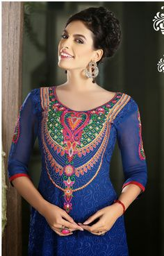 USD 93.15 Blue Faux Georgette Party Wear Suit 32574