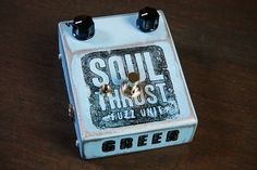 At coastsonic.com we pride our selves on selling hand made effect and this Soul Thrust Fuzz pedal by Greer Amplification is out front leading the charge. It doesn't get more hand made than this; hand made enclosure, hand distressed, hand stamped, hand wired, wired on a vintage style tag strip with amplifier grade components. This is the epitome of hand made and delivers a sound like no other, a pure rock & roll beast.