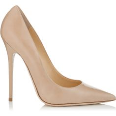 JIMMY CHOO 'Anouk' nude patent pointy toe stiletto pumps found on NUDEVOTION