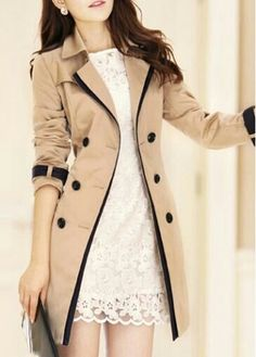 khaki tan trench coat white lace dress