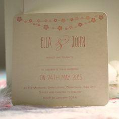 'Flower Bunting' Personalised Wedding Invitations from notonthehighstreet.com