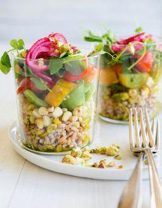 Roasted Corn Farro Tomato Salad