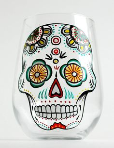 Sugar Skull Hand Painted Stemless Wine Glass. Día de Muertos - Day of the Dead Glasses by Mary Elizabeth Arts.