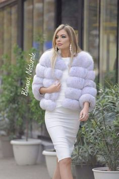 Nadire Atas on Fashionista At Large Fur Fashion, Winter Fashion Outfits, White Fashion, Womens Fashion, White Fur Jacket, Fur Clothing, Girls Winter Coats, Fabulous Furs, Fashion Themes