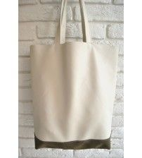 leather bag BAG94/F-16/bge Shopper of 2 types of leather with an internal pocket.  Color: beige with khaki.  Composition: nappa leather, suede leather.  Width from above 39cm(15,3 inch)  height 38cm(14,9 inch)  depth 11cm(4,3 inch)  $65.00