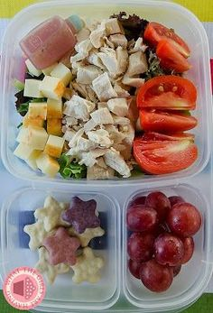 Big beautiful salad packed for lunch | packed in @EasyLunchboxes containers